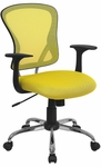 Mid-Back Yellow Mesh Swivel Task Chair with Chrome Base [H-8369F-YEL-GG]