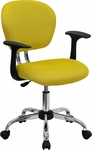 Mid-Back Yellow Mesh Swivel Task Chair with Chrome Base and Arms [H-2376-F-YEL-ARMS-GG]