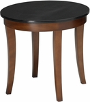 Midnight 24'' Round End Table - Black Granite Top with Bourbon Cherry Base [M103RSCR-FS-MAY]