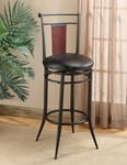 Midtown Metal and Wood Back Bar Stool with Black Faux Leather Swivel Seat - Black Dark Cherry [4324-831-FS-HILL]