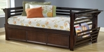 Miko Solid Wood Daybed Set with Matching Trundle and Magazine Rack - Espresso [1457DBT-FS-HILL]