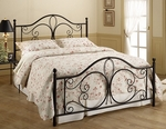 Milwaukee Powder Coated Metal Bed Set with Rails - Queen - Antique Brown [1014BQR-FS-HILL]