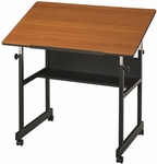 MiniMaster Woodgrain Top Drawing Table - 36''W X 24''D [MM36-3-WBR-FS-ALV]