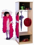 Dress-Up Wardrobe with Full-Length Acrylic Mirror and Storage Hooks [WB0885-FS-WBR]