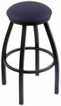 Misha 25'' Black Wrinkle Finish Swivel Counter Height Stool with Black Vinyl Seat [80225BWBLKVINYL-FS-HOB]