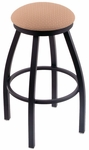 Misha 25'' Black Wrinkle Finish Swivel Counter Height Stool with Gr 1 Axis Summer Fabric Seat [80225BWASXSUM-FS-HOB]
