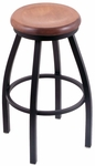 Misha 25'' Black Wrinkle Finish Swivel Counter Height Stool with Medium Maple Wood Seat [80225BWMEDMPL-FS-HOB]