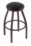 Misha 25'' Bronze Finish Swivel Counter Height Stool with Black Vinyl Seat [80225BZBLKVINYL-FS-HOB]