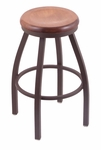 Misha 25'' Bronze Finish Swivel Counter Height Stool with Medium Maple Wood Seat [80225BZMEDMPL-FS-HOB]