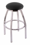 Misha 25'' Chrome Finish Swivel Counter Height Stool with Black Vinyl Seat [80225CHBLKVINYL-FS-HOB]