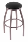 Misha 25'' Stainless Steel Finish Swivel Counter Height Stool with Black Vinyl Seat [80225SSBLKVINYL-FS-HOB]