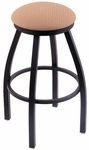 Misha 30'' Black Wrinkle Finish Swivel Barstool with Gr 1 Axis Summer Fabric Seat [80230BWAXSSUM-FS-HOB]
