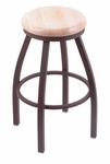 Misha 30'' Bronze Finish Swivel Barstool with Natural Maple Wood Seat [80230BZNATMPL-FS-HOB]