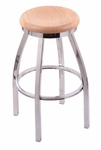 Misha 30'' Chrome Finish Swivel Barstool with Natural Oak Wood Seat [80230CHNATOAK-FS-HOB]