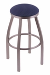 Misha 30'' Stainless Steel Finish Swivel Barstool with Gr 1 Axis Denim Fabric Seat [80230SSAXSDNM-FS-HOB]