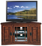 Riley Holliday 46.75''W x 25''H Mission Style Corner TV Stand with Three Storage Doors - Mission Oak [82385-FS-LCK]
