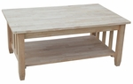 Mission Solid Parawood 24''W X 18''H Tall Coffee Table With Lift Top - Unfinished [BJ6TCL-FS-WHT]