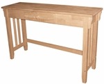 Mission Solid Parawood 13''W X 30''H Console Table with Drawer - Unfinished [OT-61S-FS-WHT]