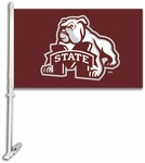 Mississippi State Bulldogs Car Flag with Wall Brackett - Mascot Design [97121-FS-BSI]