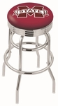 Mississippi State University 25'' Chrome Finish Double Ring Swivel Backless Counter Height Stool with Ribbed Accent Ring [L7C3C25MSSSTU-FS-HOB]