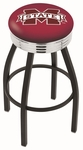 Mississippi State University 25'' Black Wrinkle Finish Swivel Backless Counter Height Stool with Ribbed Accent Ring [L8B3C25MSSSTU-FS-HOB]