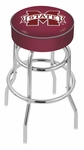 Mississippi State University 25'' Chrome Finish Double Ring Swivel Backless Counter Height Stool with 4'' Thick Seat [L7C125MSSSTU-FS-HOB]