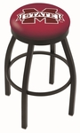 Mississippi State University 25'' Black Wrinkle Finish Swivel Backless Counter Height Stool with Accent Ring [L8B2B25MSSSTU-FS-HOB]