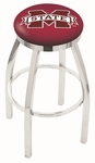 Mississippi State University 25'' Chrome Finish Swivel Backless Counter Height Stool with Accent Ring [L8C2C25MSSSTU-FS-HOB]