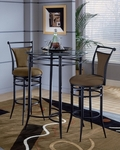 Cierra 3 Piece Bistro Set with 34'' Diameter Metal Bar Height Table and 2 Stools - Bear [4596PTBS2BRN-FS-HILL]