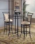 Cierra 3 Piece Bistro Set with 34'' Diameter Metal Bar Height Table and 2 Stools - Fawn [4596PTBS2FW-FS-HILL]