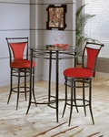 Cierra 3 Piece Bistro Set with 34'' Diameter Metal Bar Height Table and 2 Stools - Flame [4596PTBS2FL-FS-HILL]