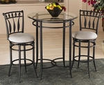 Hudson 3 Piece Bistro Set with Round Metal Bar Height Table and 2 Swivel Stools - Black [4596PTBS2HD-FS-HILL]