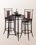 Midtown 3 Piece Bistro Set with Round Metal Bar Height Table and 2 Swivel Stools - Black Dark Cherry [4596PTBS2MD-FS-HILL]