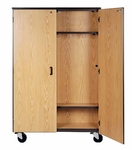 Mobile Double Faced Coat Storage w/Coat Side and Bookcase Side [2038-O-IRO]