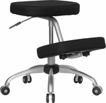 Mobile Ergonomic Kneeling Chair in Black Fabric with Silver Powder Coated Frame [WL-1425-GG]