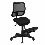 Mobile Ergonomic Kneeling Task Chair with Black Curved Mesh Back and Fabric Seat [WL-3425-GG]