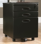 Mobile 3 Drawer Locking Rectangular File Cabinet with Easy-Roll Casters - Black [18581-FS-SRTA]