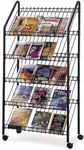 32.50'' W x 15.25'' D x 63.50'' H Mobile Wire Literature Rack with Four Viewing Levels - Charcoal [4129CH-FS-SAF]