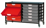 Mobile Metal Tote Tray Rack - 12 Totes [MSTT-212-HNN]