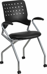 Galaxy Mobile Nesting Chair with Arms and Black Leather Seat [WL-A224V-LEA-A-GG]