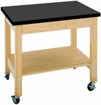 Mobile Science Lab Demonstration Cart with 1.25'' Thick Black ChemGuard Top - 36''W x 24''D x 30''H [4502K-DW]