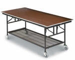 Mobile Utility Table with Sealed Walnut Plywood Top and Storage - 30''W x 72''L x 30''H [MU306E-MFT]