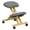 Mobile Wooden Ergonomic Kneeling Chair in Gray Fabric