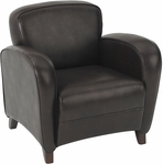 OSP Furniture Eco Leather Embrace Club Chair with Cherry Finish Legs - Mocha [SL2371EC9-FS-OS]