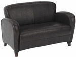 OSP Furniture Eco Leather Love Seat with Cherry Finish Legs - Mocha [SL2372EC9-FS-OS]