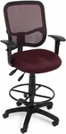 Mesh Comfort Ergonomic Task Chair with Arms and Drafting Kit - Wine [130-AA3-DK-A03-FS-MFO]