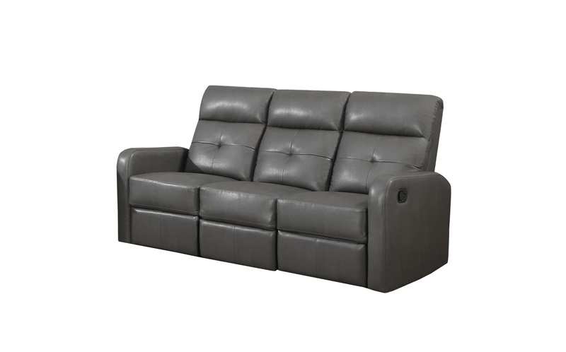 Modular Bonded Leather Match 3 Piece Compact Reclining Sofa Grey I 85gy 3 By Monarch