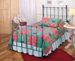 Molly Traditional Metal Trundle Bed Set with Rails - Twin - Blue [1088BTWHTR-FS-HILL]