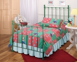Molly Traditional Metal Trundle Bed Set with Rails - Twin - Green [1089BTWHTR-FS-HILL]
