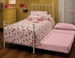Molly Traditional Metal Trundle Bed Set with Rails and Trundle - Twin - White [1222BTWHTR-FS-HILL]